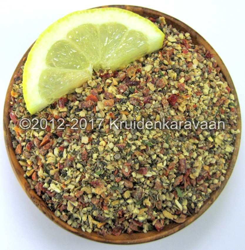 Citroenpeper zonder zout met fijn gesneden citroenschil